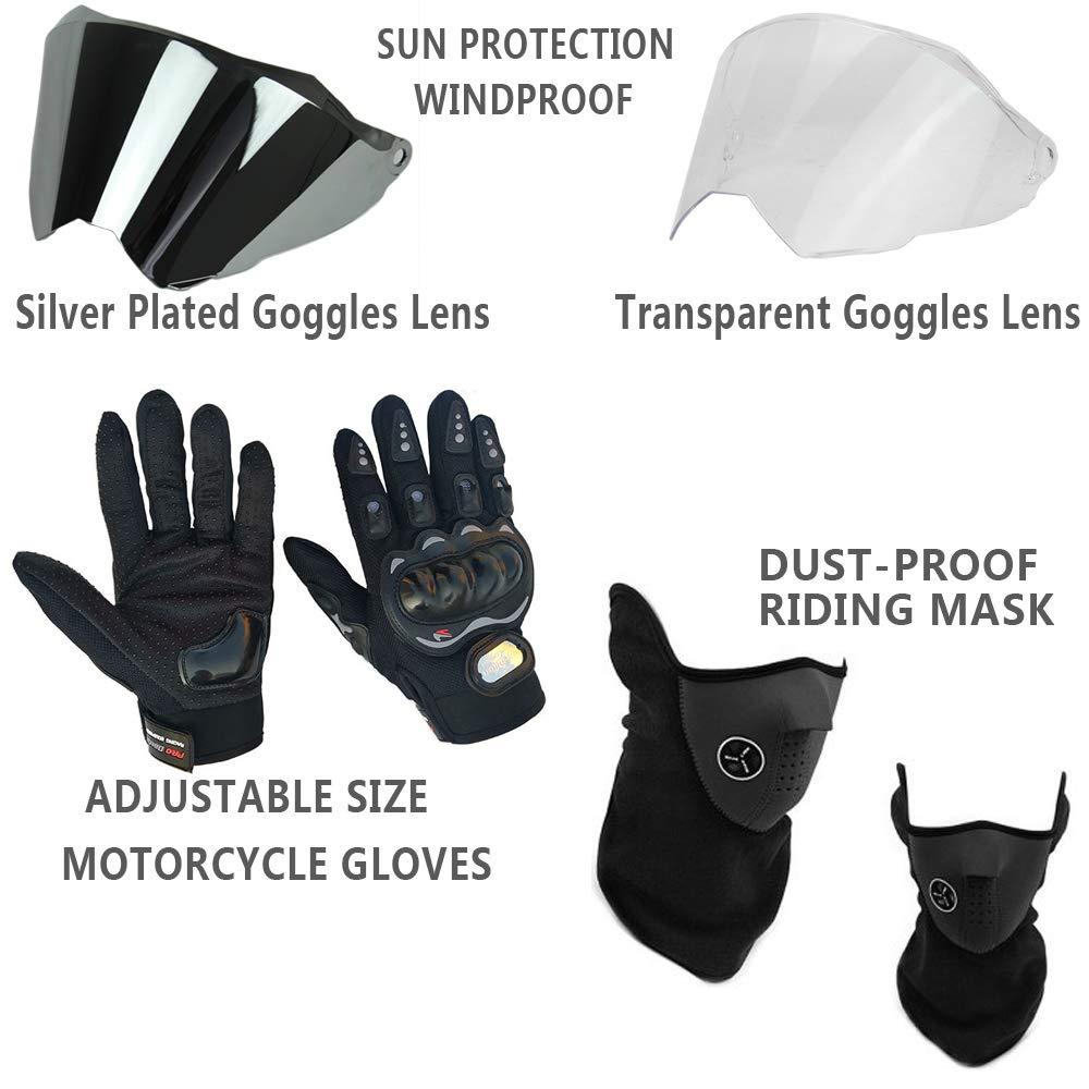 Adulto Caschi da Motocross con Guanti Maschera e 2 Occhiali Visiera Casco Moto-Cross per Fuoristrada Motociclisti Casco di Sicurezza QYTK Casco Integrale Motocross Donna Giallo Nero