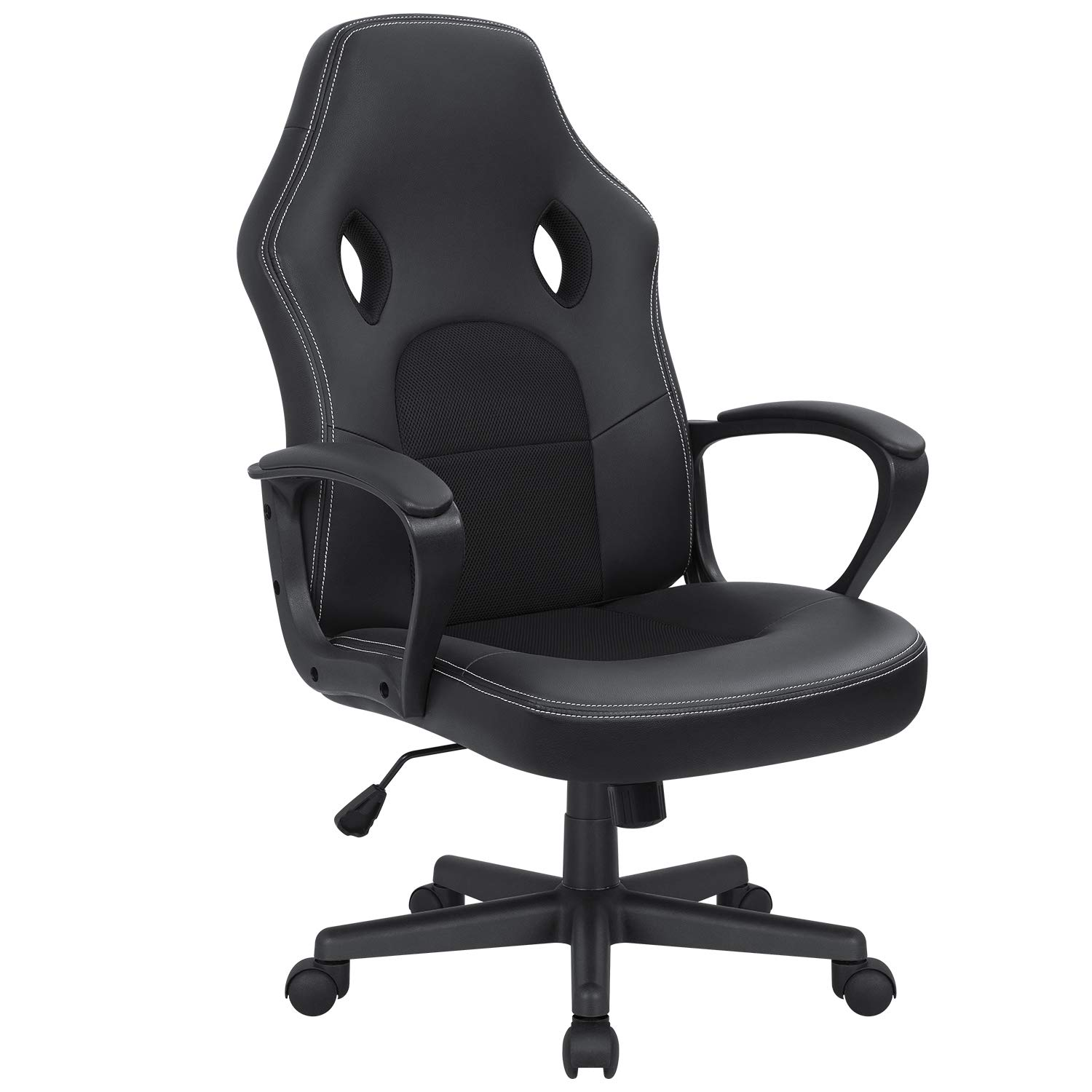 Kaimeng Office Chair Desk Leather Gaming Chair High Back Ergonomic Adjustable Racing Chair Executive Computer Chair (Black)