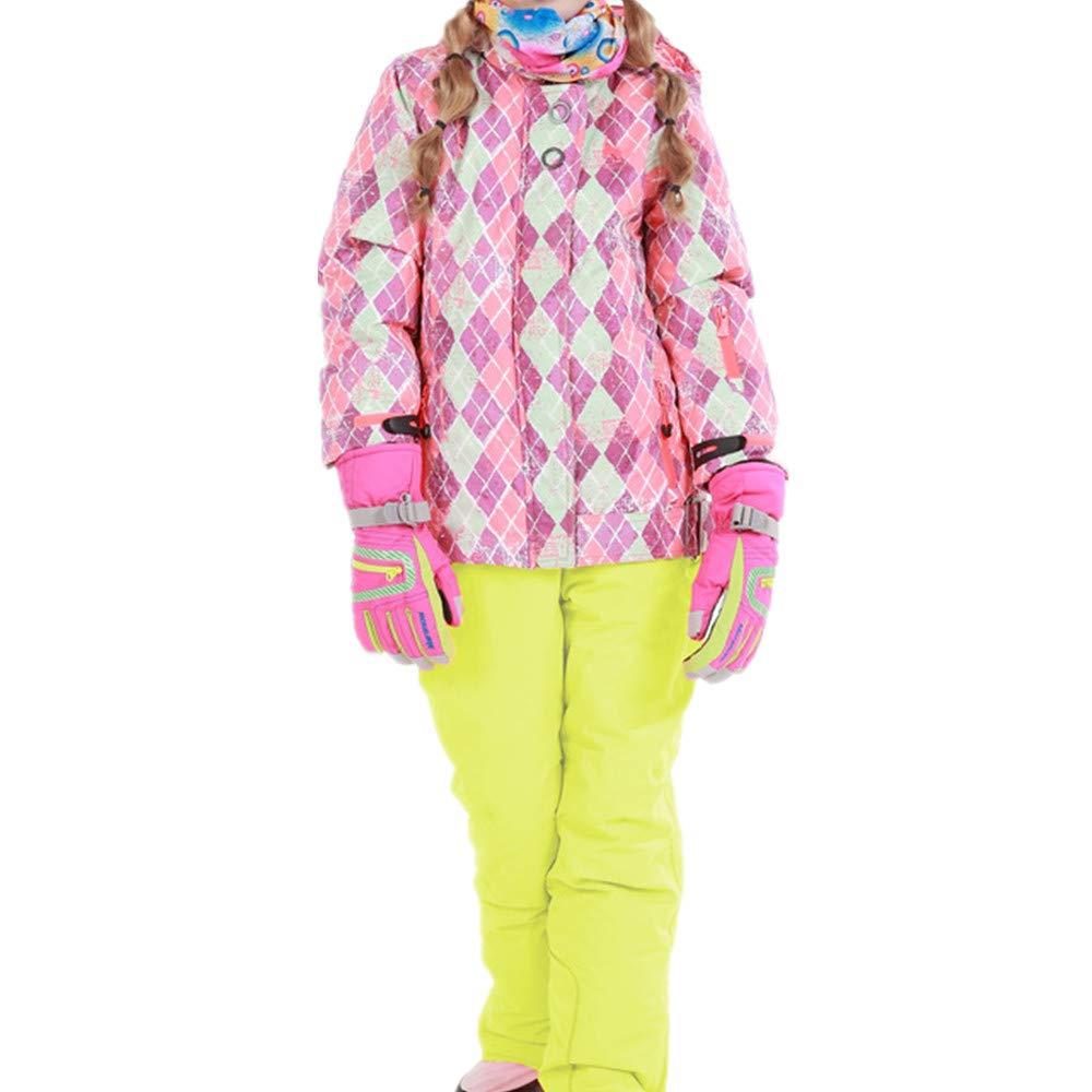 スキーウェア 女の子暖かい防風防水スノーシューズフード付きスキージャケットパンツ2個セット 耐性ジャケット (色 : 黄, サイズ : 116/122)
