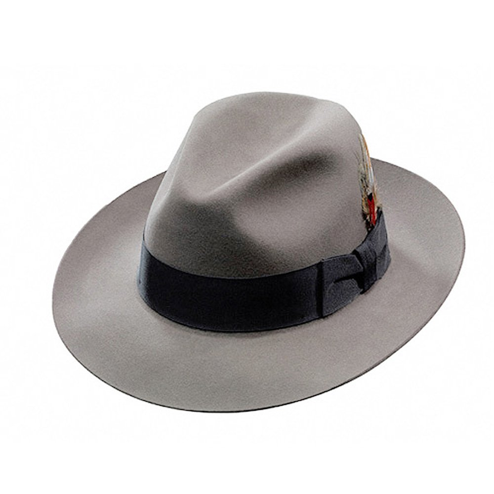 Stetson Men's Temple Fur Felt Fedora Light Grey 7 1/8