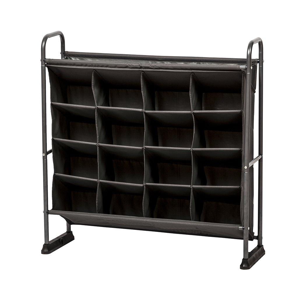 STORAGE MANIAC 4-Tier 16 Pockets Polyester Canvas Shelf Free Standing Shoe Racks Organizer