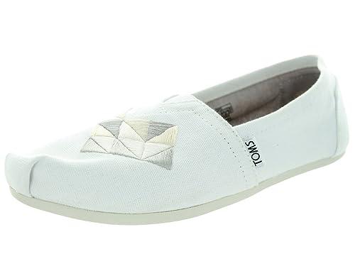 e1bd57bf9122 TOMS Women s Classics Canvas Flat Shoes White Canvas 10 B(M) US  Buy ...