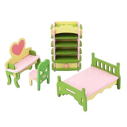 Magideal Dollhouse Furniture Wooden Toy Kids Bedroom Set