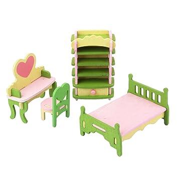 Ensemble De Chambre Enfant Meuble Miniature En Bois Pour Maison De Poupée