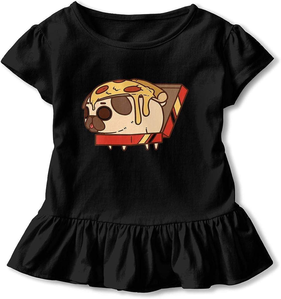Cheng Jian Bo Puglie Pizza Toddler Girls T Shirt Kids Cotton Short Sleeve Ruffle Tee