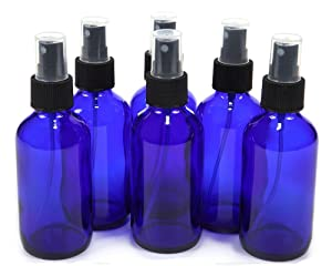 6PCS 1.7oz/50ml Blue Plastic Spray Bottle with Black Fine Mist Sprayers-Cosmetic Essential oil Perfume Storage Container for Home and Travel Use (50ml)