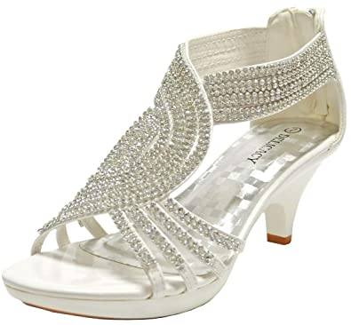 7cd21246a8d6 Angel-37 Women Party Evening Dress Bridal Wedding Rhinestone Platform Kitten  Heel Sandal Shoes (