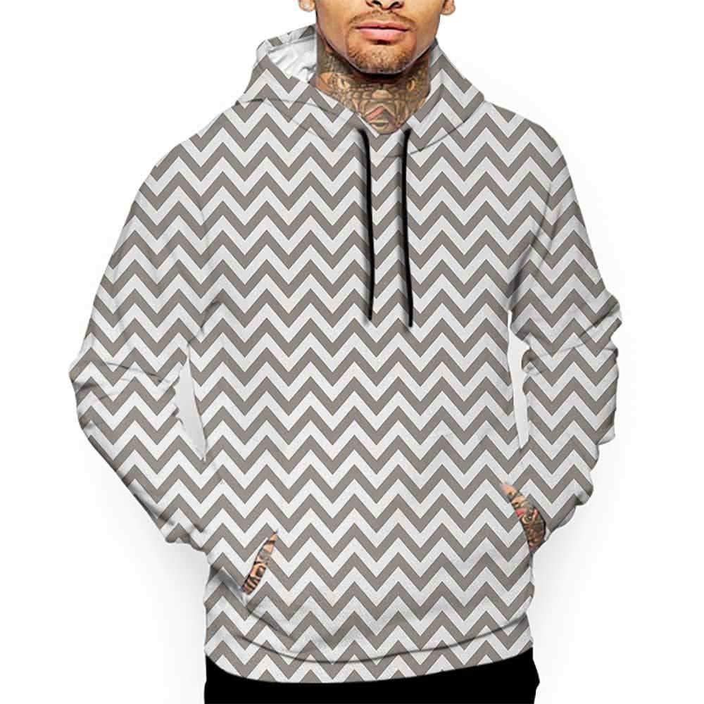 Hoodies Sweatshirt/Men 3D Print Chevron,Grey and White Zig Zag Lined Striped Pattern Modern Design Artistic Print,Warm Taupe White Sweatshirts for Men Prime