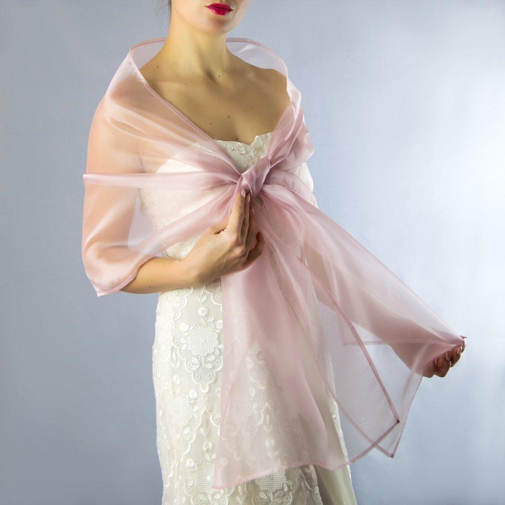 Châle Écharpe Étole Organza Femme Mariage sur Robe de Soirée Mariée en rose