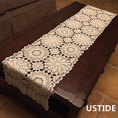 Ustide Rustic Floral Table Runner Handmade Crochet Table Doily Beige 15X47