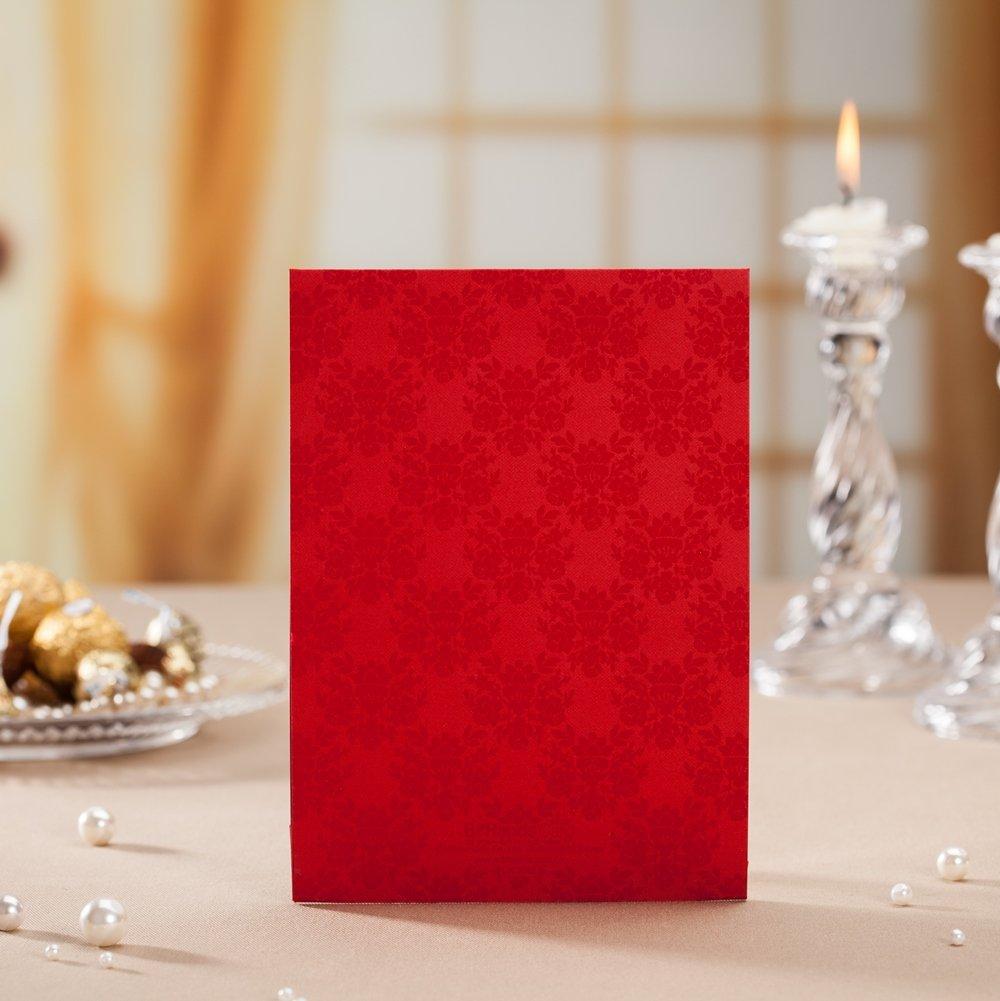 Amazon.com: BHands Red 3D Laser Cut Bridal Groom Church Wedding ...