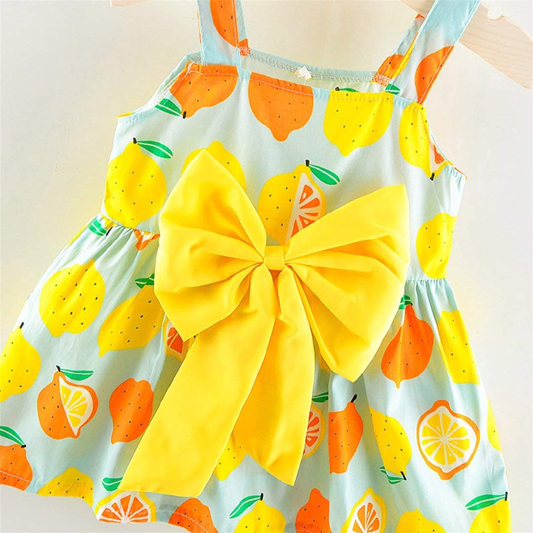 Amazon.com: Ceremonial Dresses Baby Little Girl Lemon Print Sleevesless Grand Bow Dress Princess Skirt Toponly: Musical Instruments