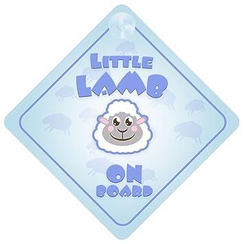 Amazon.com: Little Lamb Azul a bordo señal de coche nuevo ...