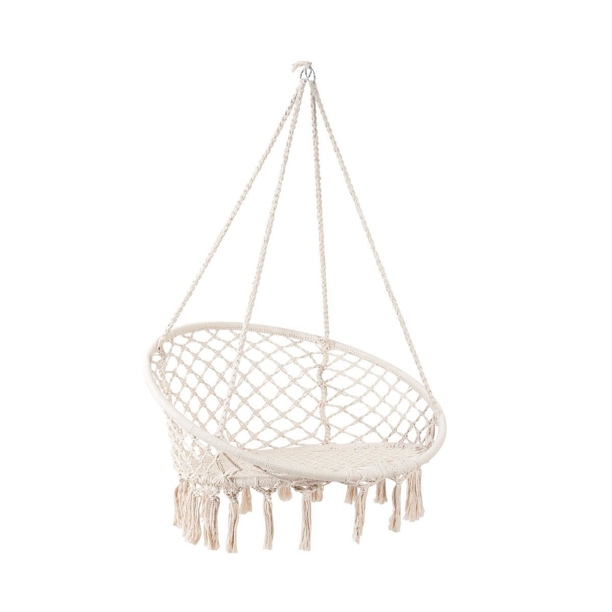 BUTLERS Paradise Now Hängesessel mit Fransen, 145x100 cm - Creme Weißer Sessel zum Aufhängen bis 100 kg - Hängematte