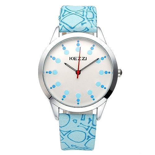 JSDDE Uhren,Elegant Damen Armbanduhr Punkt Skala Zifferblatt Damenuhr PU Lederband Analog Quarzuhr m...