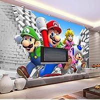 WallDiy Aangepaste Groot Fotobehang Super Mario Muurschildering Klassiek Spelbehang Kamerdecoratie Wandkunst Slaapkamer…