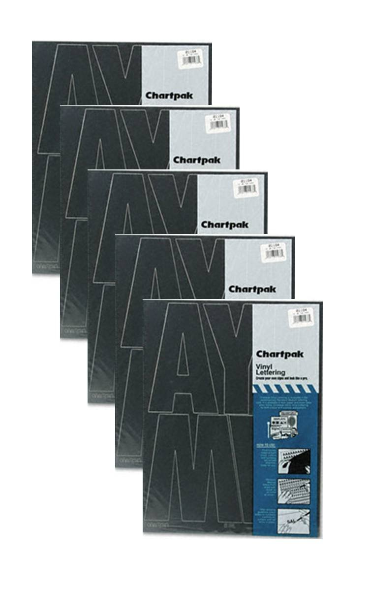 Chartpak 6-inch Black Stick-on Vinyl Capital Letters (01184), 5 PACKS
