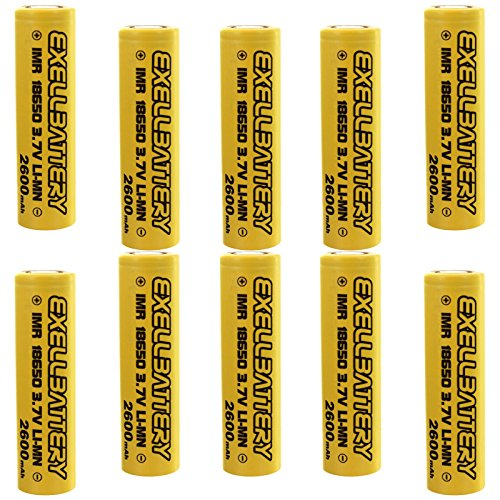 10pc 3.7V IMR 18650 LiMN Rechargeable 2600mAh Battery SAFER CHEMISTRY For Security Systems, Lighting, Digital Calipers, Measuring Tools, Pathway Lights, Cree LED Flashlights by Exell Battery