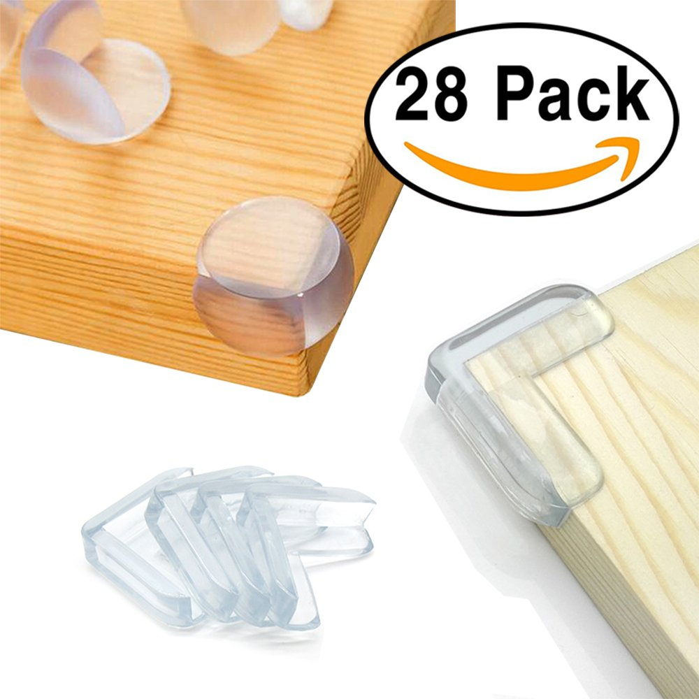 28 Pack Baby Proofing Corner Guards Furniture Corner Edge Safety Bumpers with Adhesive By Agolds (Triangle & Ball Shaped)