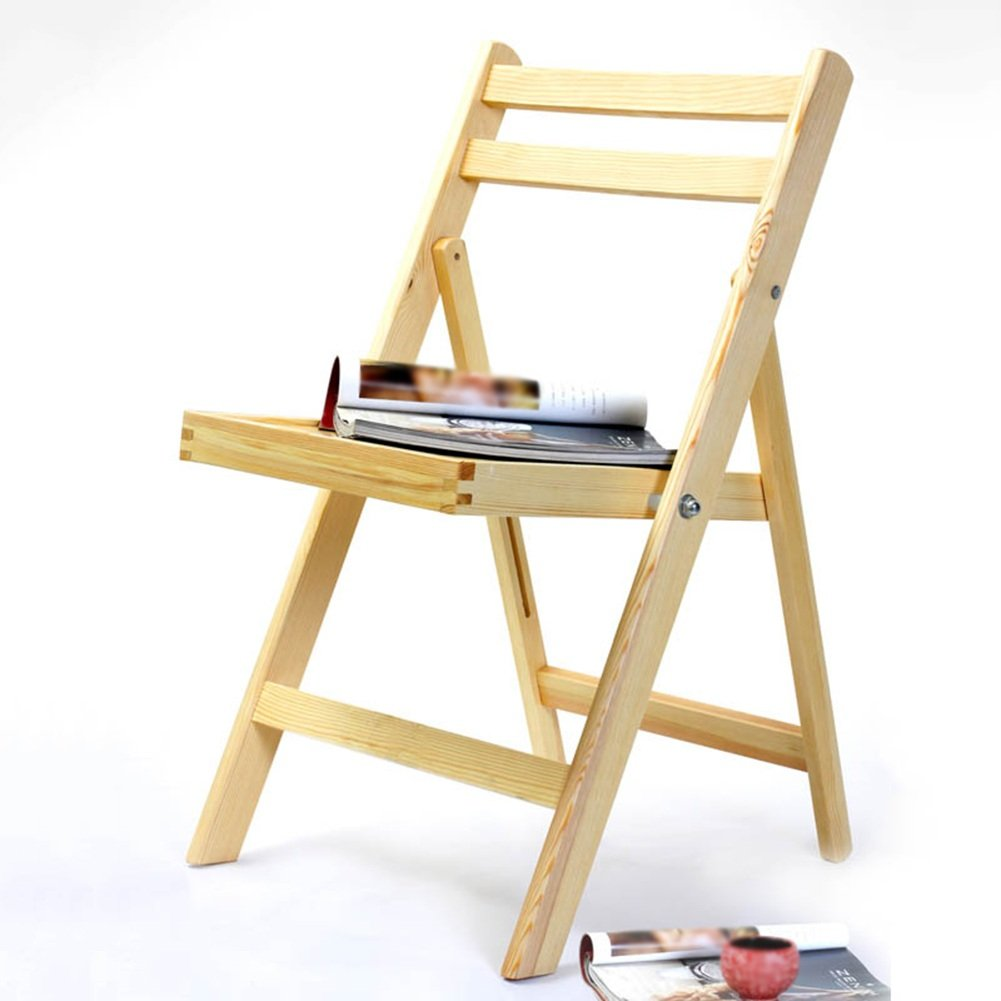 ZEMIN ダイニングチェア椅子の木の木製折り畳み 椅子ソファシートスツールテーブルバックレスト折り畳み式ポータブルソリッドウッド、ログカラー、44.5x49x78CM B078WNGRBQ