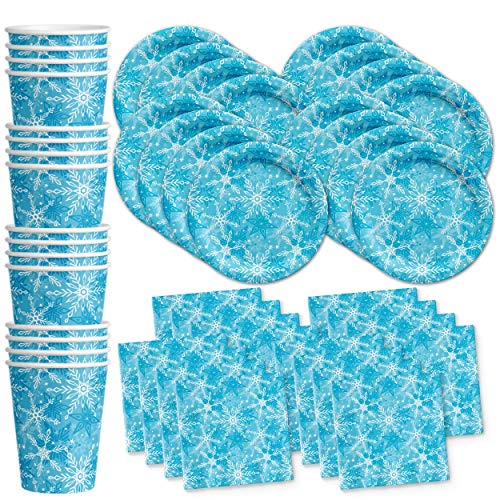Snowflake Winter Wonderland Birthday Party Supplies Set Plates Napkins Cups Tableware Kit for 16 -