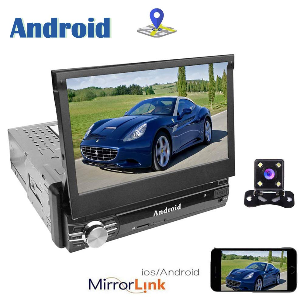Camecho Single DIN Car Est/éreo Android 6.0 Navegaci/ón GPS 7 Pulgadas Pantalla t/áctil Enlace de Espejo Bluetooth WiFi USB//SD Am//FM Radio para Auto c/ámara de Respaldo micr/ófono