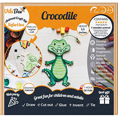 - Safari Animals Wooden Crafts Crocodile - Decorate Your Own Safari Animal - Learning Toy Kids Craft - Wooden Craft to Paint - Zoo Animals Cutout Educational Toy Unique Gift - Painting Craft -Crocodile