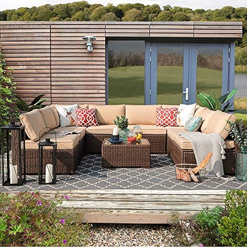 Patiorama Outdoor Furniture Sectional Sofa Set (9-Piece Set) All-Weather Brown Wicker with Beige Seat Cushions &Glass Coffee Table  Patio, Backyard, Pool  Steel Frame (Sectional Piece 9 Outdoor)