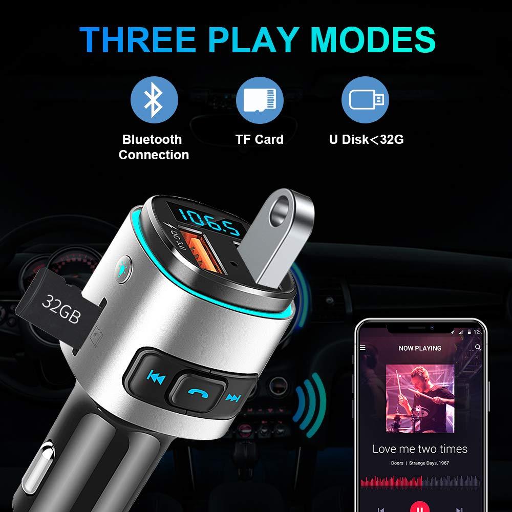 Laxstory Transmisor FM Bluetooth de Radio Inal/ámbrico Kit de Radio Inal/ámbrico Kit Adaptador de Coche con Funci/ón Manos Libres Inal/ámbrico Reproductor MP3 Puertos QC3.0 USB
