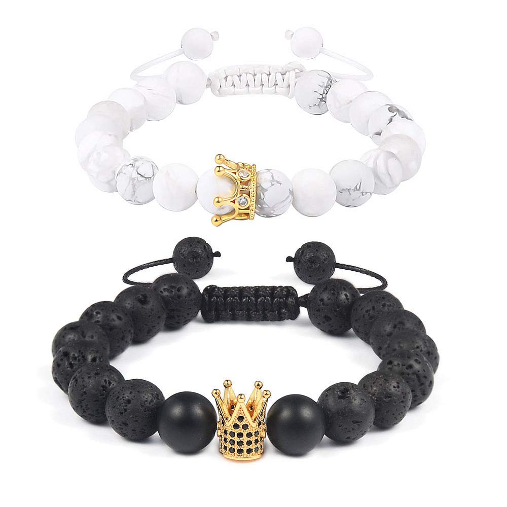 CheersLife Distance Bracelets King /& Queen Crown Charm Friends Relationship Couples His Hers Braid Adjustable Black Lava White Howlite