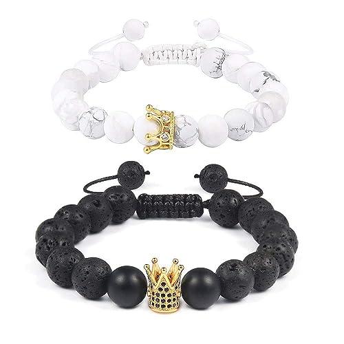 ae5eb407ebbf VU100 Par Distancia Pulseras King & Queen Corona Pareja brazaletes ...