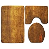 Brown Vintage Rusted Metal 3 Piece Bathroom Mats Set Non-Slip Bathroom Rugs/Contour Mat/Toilet Cover