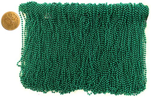 Mardi Gras Beads 33 inch 7mm, 12 Dozen, 144 Pieces, Green Necklaces with Doubloon