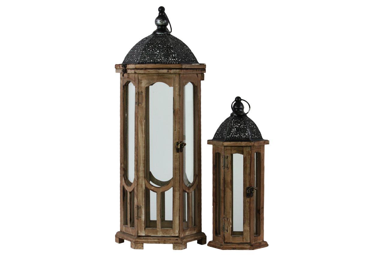 Urban Trends 26118 Weathered Wood Finish Hexagonal Lantern with Black Pierced Metal Top and Ring Hanger (Set of 2), Dark Brown, Dark Brown