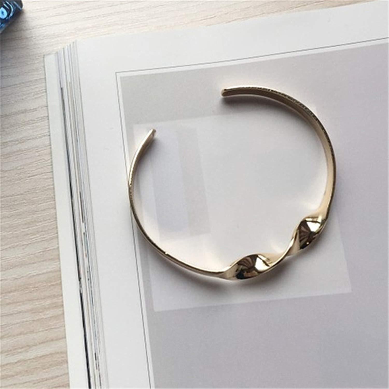 minimalist twist burnished gold silver metal bracelet lady bracelets fine bracele,Platinum Plated by Rankei bracelets (Image #4)