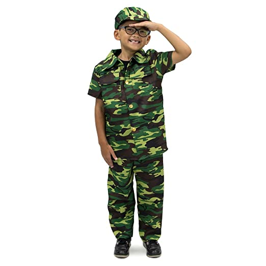 courageous commando childrens boy halloween costume dress up army soldier camo youth small