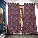 magnificent dressing room closet design Room Darkening Wide Curtains Shabby Baroque Damask with Rococo Effects Feminine Antique Western Design Decorative Curtains for Living Room W84 x L96 Dark Coral Blue Grey