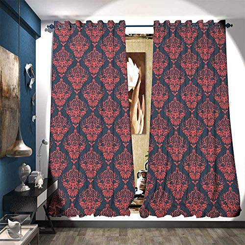 Room Darkening Wide Curtains Shabby Baroque Damask with Rococo Effects Feminine Antique Western Design Decorative Curtains for Living Room W84 x L96 Dark Coral Blue Grey