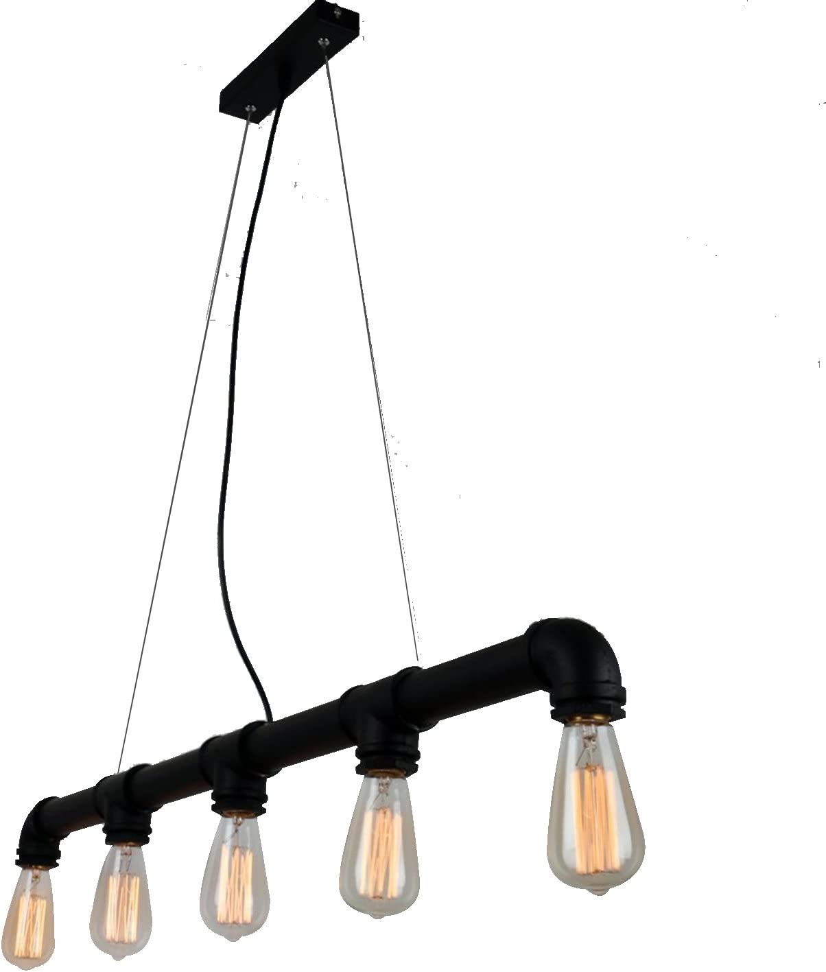 UNITARY Brand Vintage Metal Water Pipe Pendant Light Max 200W with 5 Lights Black Finish
