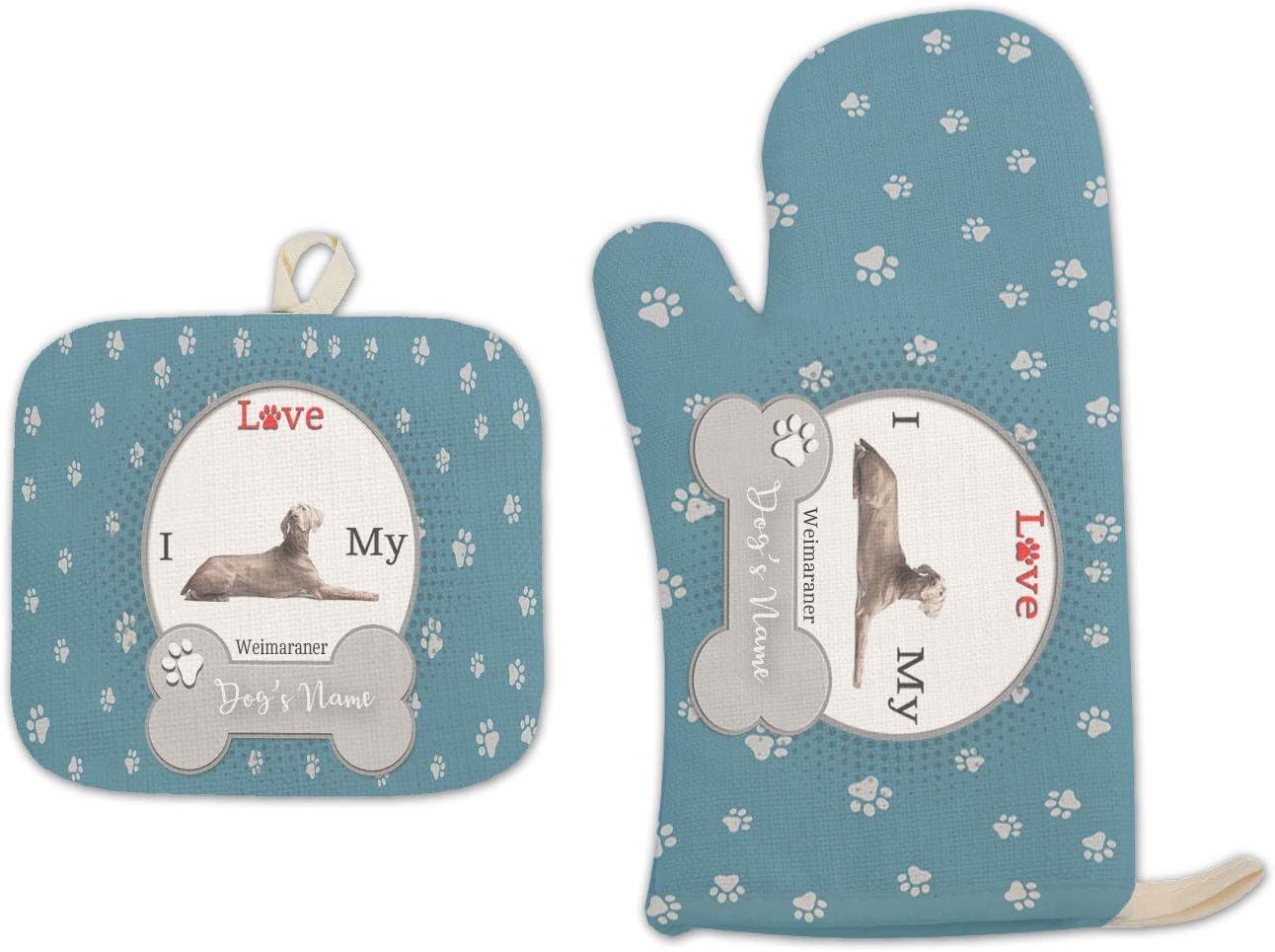 Bleu Reign BRGiftShop Personalized Custom Name I Love My Dog Weimaraner Linen Oven Mitt and Potholder Set