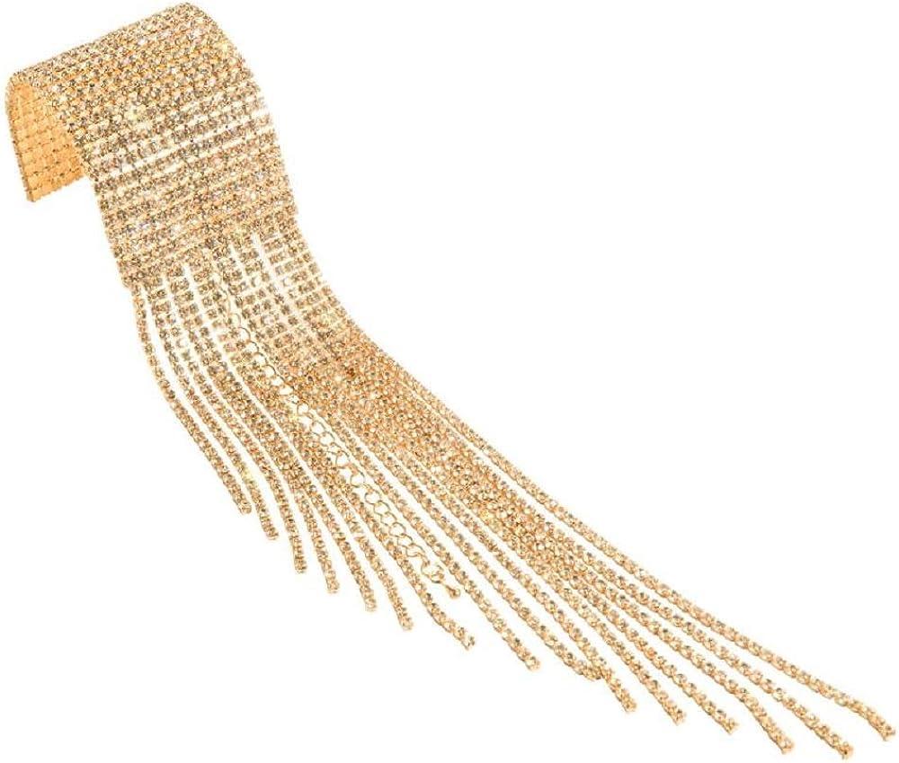 JolieHome Fashion Sparkling Rhinestone Cuff Bracelet Wrap Bracelet with Fringe for Party Wedding Prom Gift Bracelet