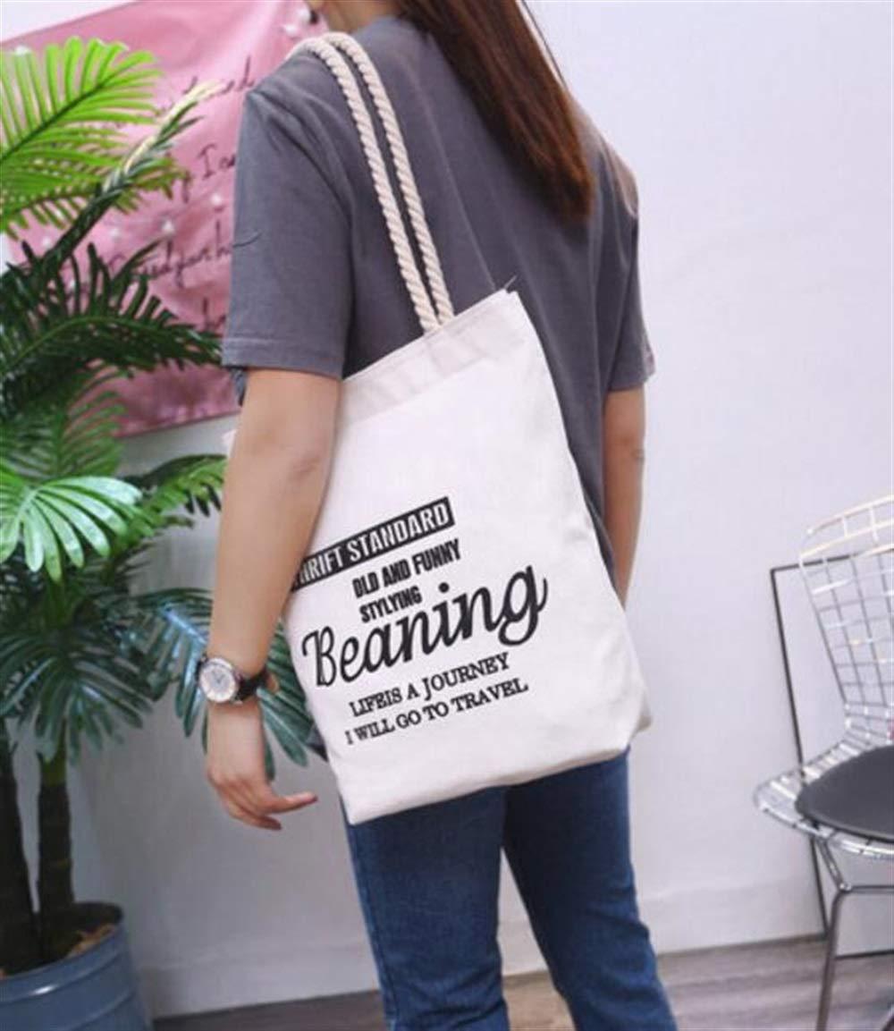 WHXYAA Beaning Printed Canvas Bag Shoulder Bag Tote Bag Ladies Large-Capacity Shopping Bag Environmentally Friendly Tote Bag