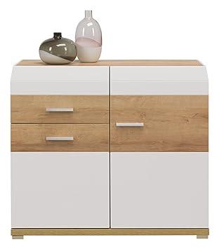 Unbekannt Cappuccino 2 Türen Sideboard Schrank Mit Schublade Eiche  Einlegeböden In Weiß Glanz Und Holz Effekt