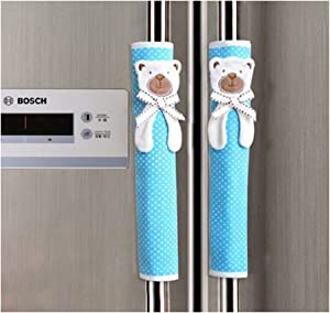 FLYPARTY 2X Handle Covers- Cloth Protector for Electrical Kitchen Appliances,Fridge,Microwave,Dishwasher,Freezer, Oven Door - Keep Clean from Drips,Smudges Fingerprints Dust(Blue Bear)