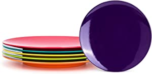 Melamine Plates, 10.5-inch Dinner Plates set of 6 Multicolor, 100% Melamine Dishwasher Safe BPA Free