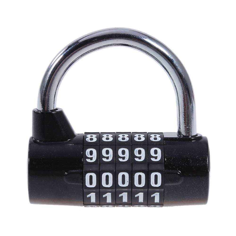 Large 5 U-Type Combination Lock, 5-Digit Combination Padlock, Re-settable Combo Lock, Gym Lock, Combination Locks for Gates, Toolbox, Luggage, Cabinet, Bicycle, School, Home, Office, Travel by SEN