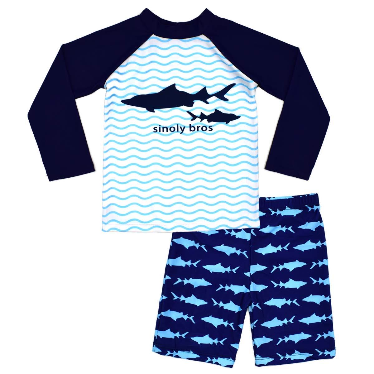 Boys Two Piece Rash Guard Swimsuits Kids Long
