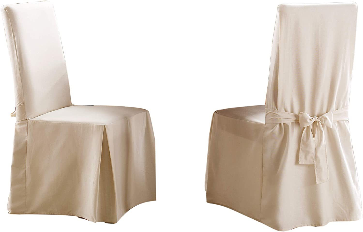 SureFit Long Dining Chair Slipcover - Cotton Duck - Up To 42 Inches Tall - Machine Washable - 100% Cotton - Natural