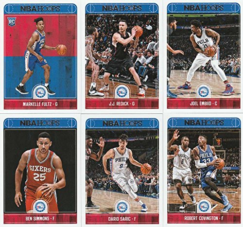2017-18 Panini NBA Hoops Philadelphia 76ers Team Set of 10 Cards: Joel Embiid(#1), Ben Simmons(#2), Dario Saric(#3), Robert Covington(#4), Timothe Luwawu-Cabarrot(#5), Richaun Holmes(#6), Jahlil Okafor(#7), Nik Stauskas(#8), JJ Redick(#45), Markelle Fultz(#251)