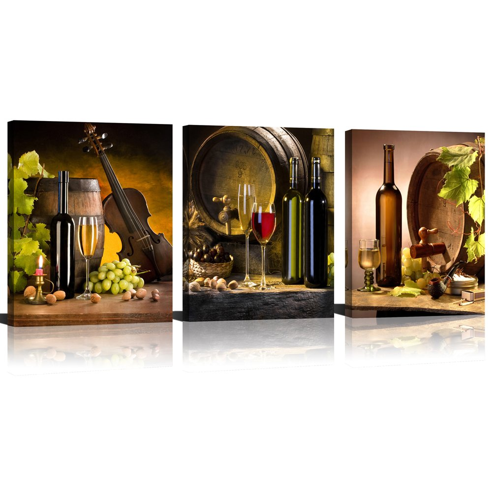 ModeArt 3 Panels Red Wine & Green Grape Wine Cups & Bottles HD Modern Abstract Giclee Canvas Prints Artwork for Kitchen Home (12''x16''x3pcs Framed) by Modeart